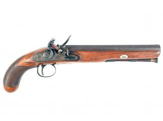 A 10-Bore Flintlock Officers Pistol by Mace