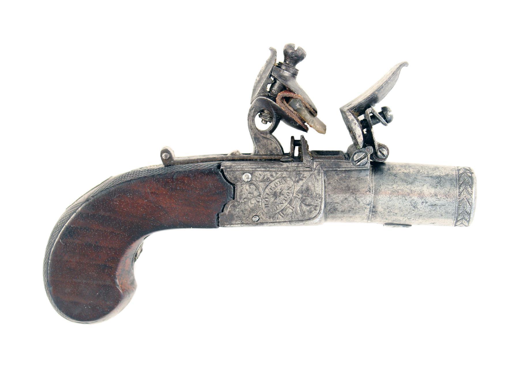 A Small Flintlock Pocket Pistol by Parker