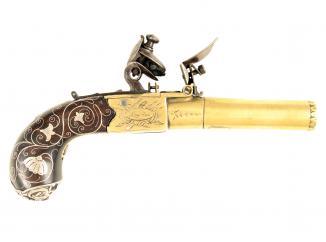 A Silver Mounted Flintlock Pocket Pistol by Knubley