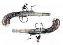 A Silver Mounted Pair of Pistols by Emms of Oxford