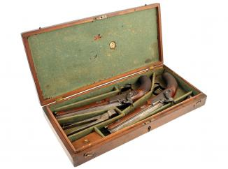 A Superb Cased Pair of Percussion Pistols by Lankester