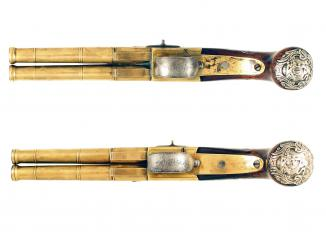 A Superb Pair of Double Barrel Flintlock Pistols