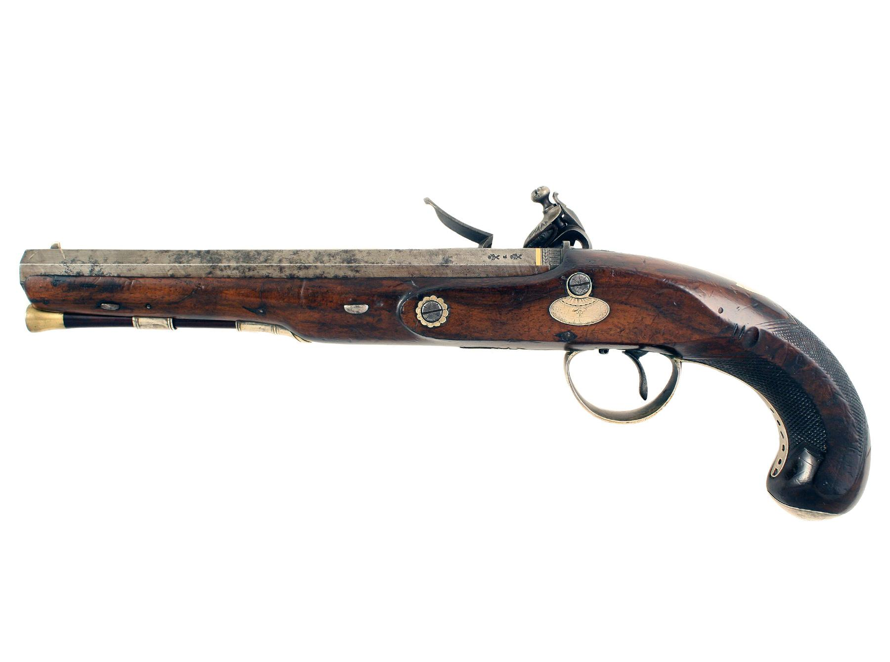 A Silver Mounted Flintlock Officers / Duelling Pistol