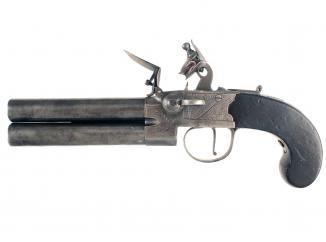 A Huge Rifled Flintlock Tap Action Pistol