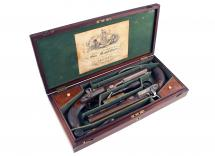 A Cased Pair of Percussion Pistols by Lancaster