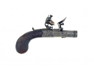 A Very Small Flintlock Pocket Pistol by H. Nock