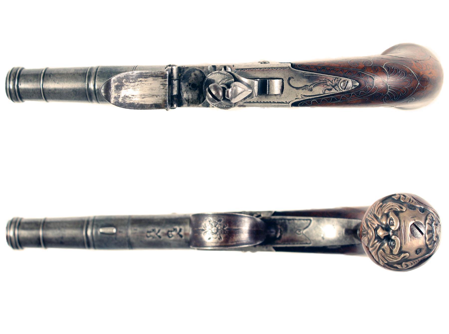 A Silver Mounted Flintlock Pocket Pistol by Parkes