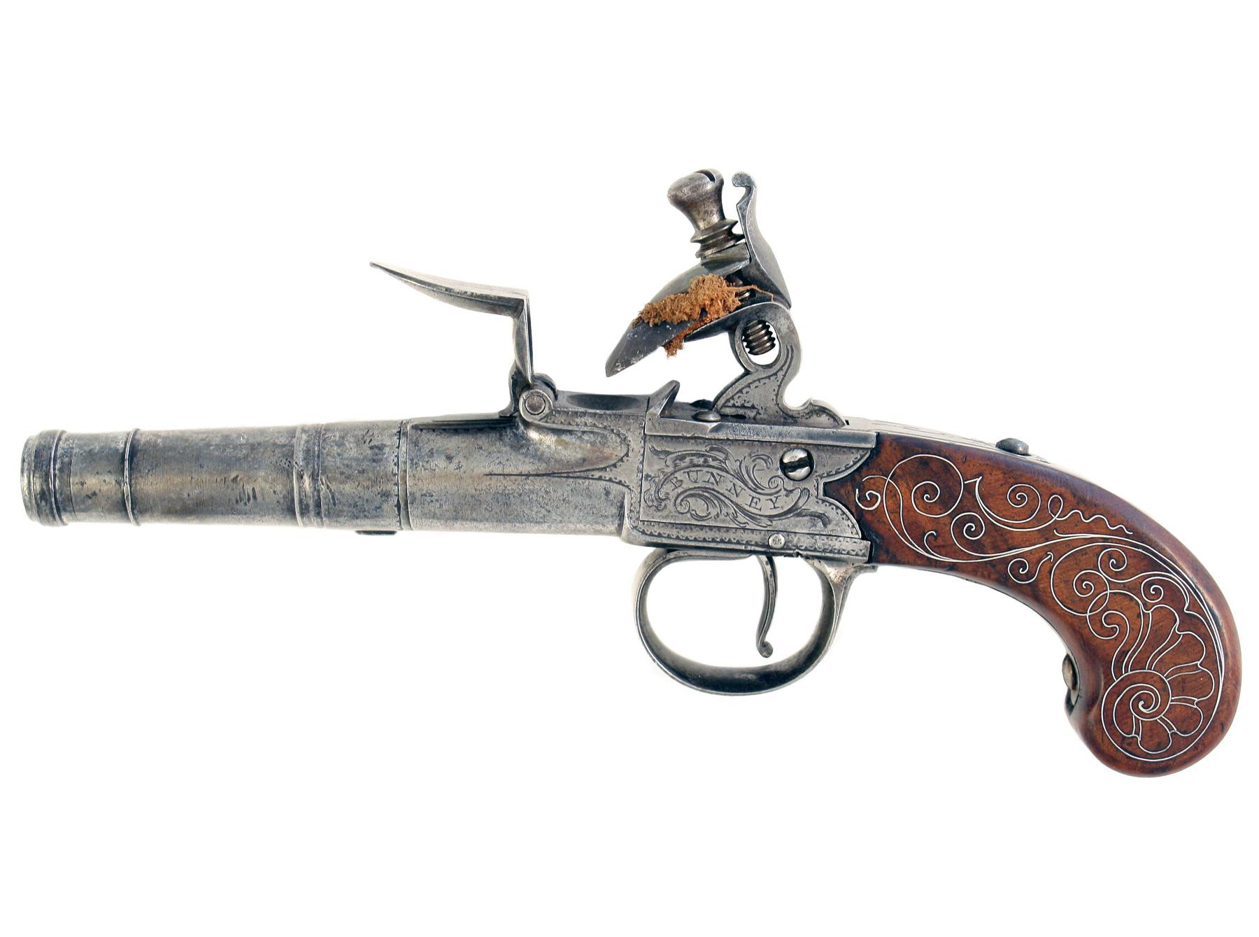 A Silver Mounted Flintlock Pistol by Bunney