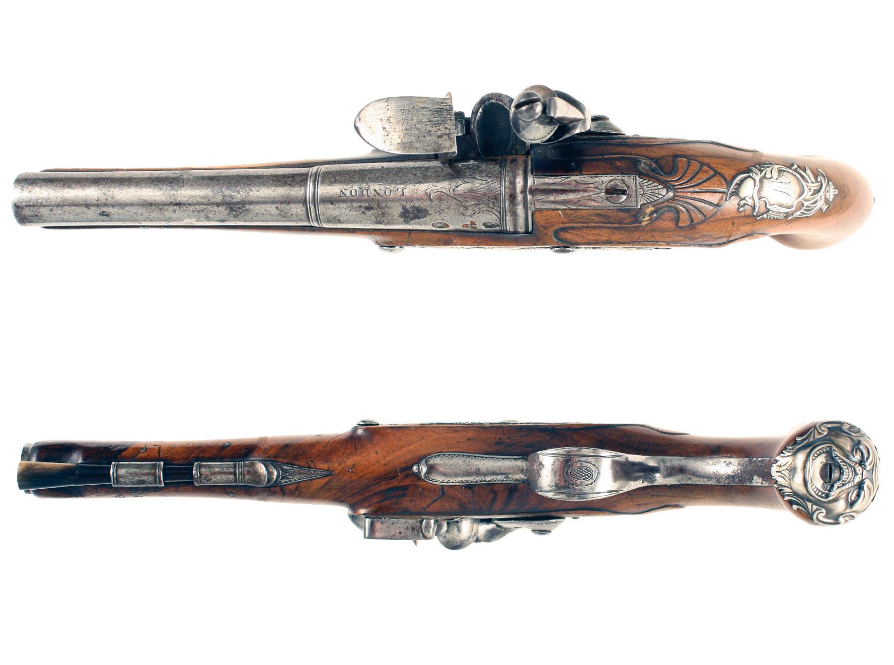 A Pair of Silver Mounted Flintlock Holster Pistols