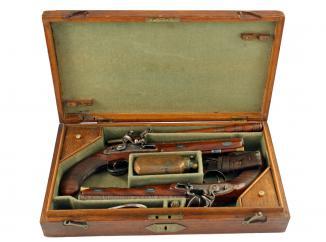 An Incredible Cased Pair of Flintlock Officers Pistols