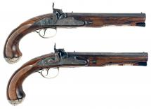 A Pair of Silver Mounted Pistols Engraved with the Macpherson Clan Motto.