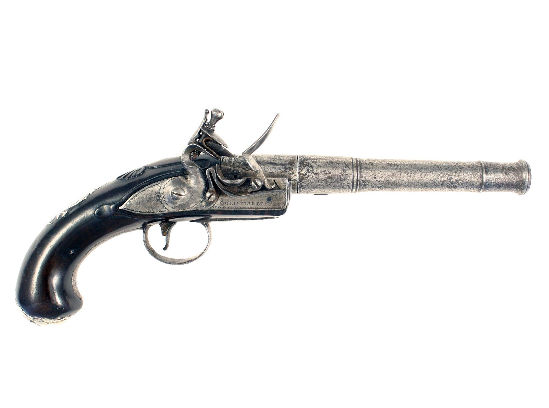 A 18-Bore Flintlock Queen Anne Pistol by Collumbell.