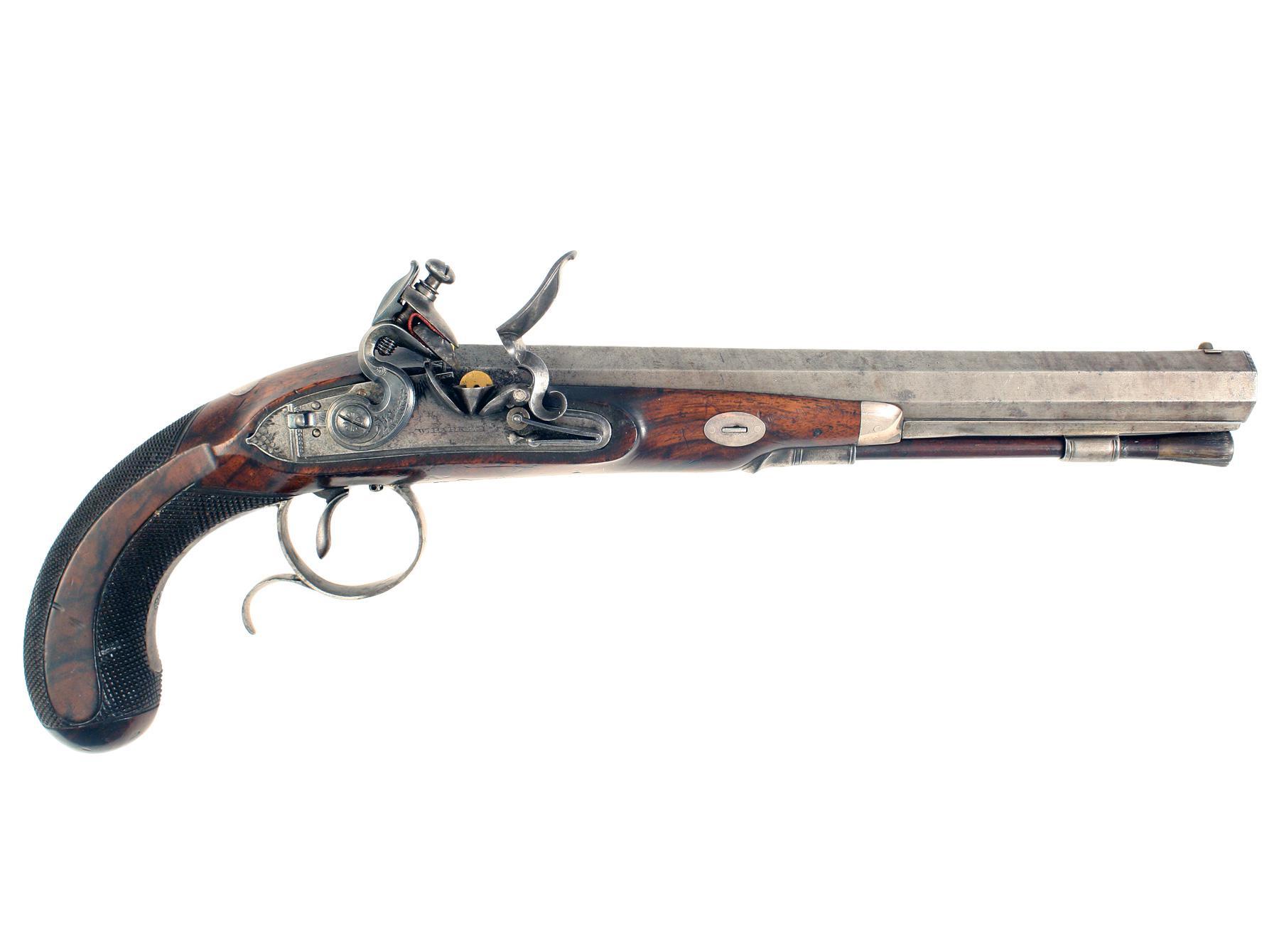 A Flintlock Duelling Pistol by W. Parker