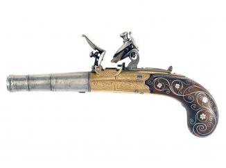 A Pair of Silver Inlaid Pocket Pistols