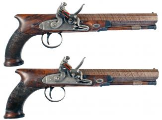 A Pair of Flintlock Officers Pistols by Allport