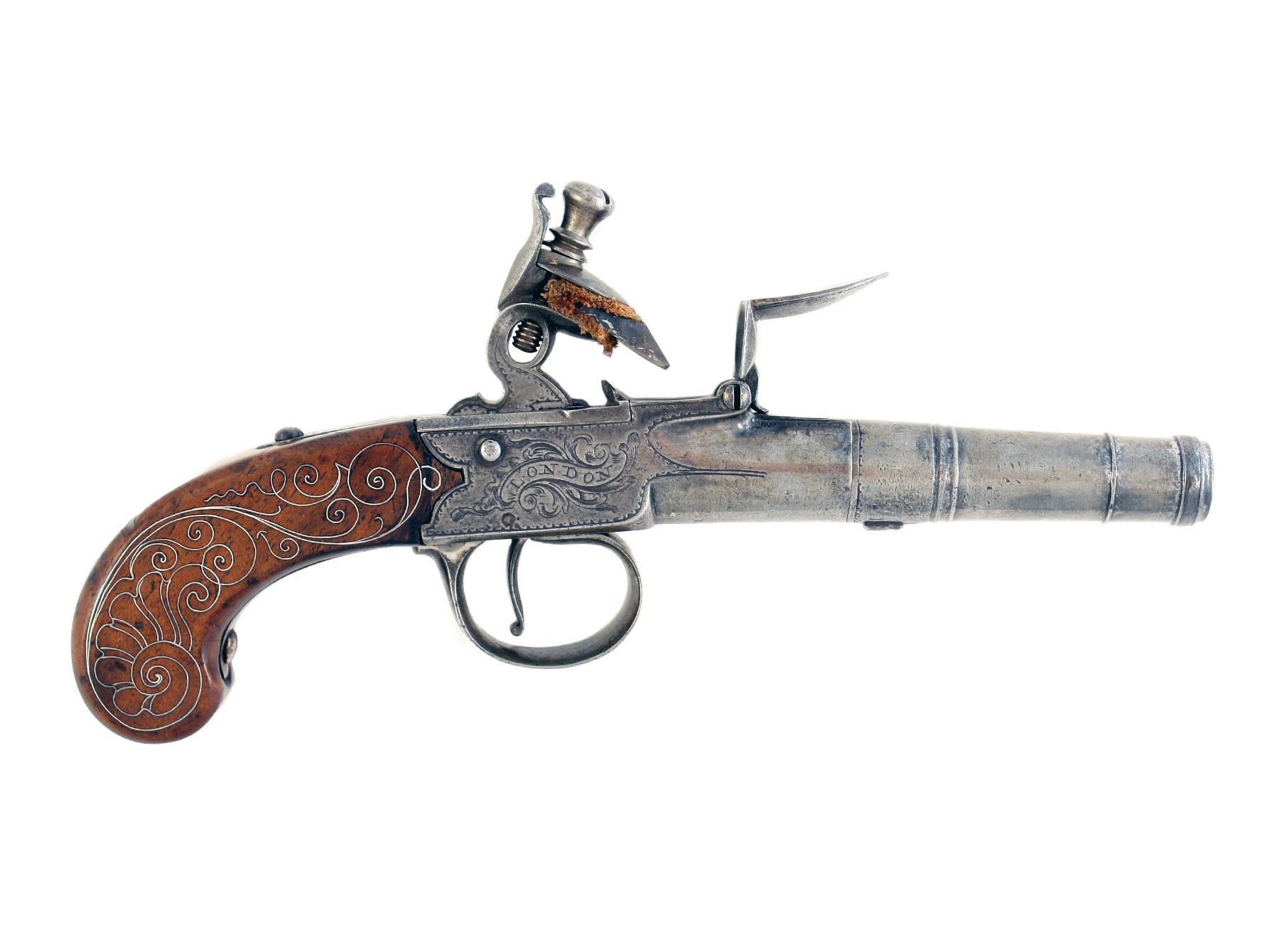 A Silver Mounted Flintlock Pocket Pistol by Bunney