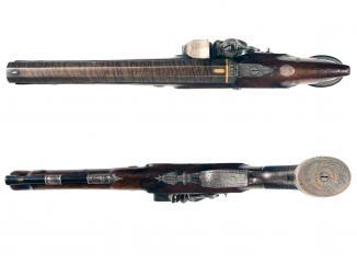 A Flintlock Duelling Pistol by Prosser