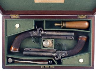 A Pair of Percussion Pocket Pistols by Clough of Bath