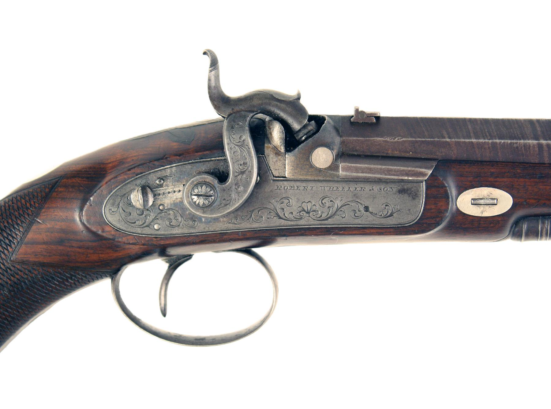 A Cased Rifled Percussion Pistol by Wheeler & Son