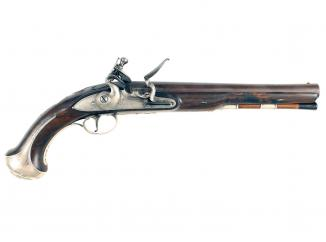 A Silver Mounted Flintlock Holster Pistol by Griffin