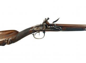 A Liege Double Barrelled Flintlock Sporting Gun