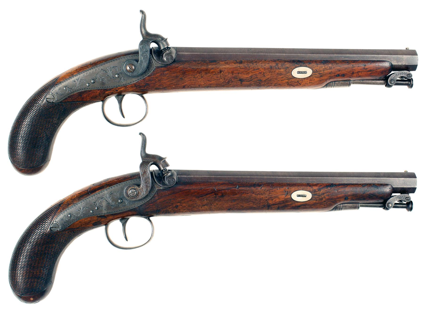 A Pair of Percussion Pistols by J. Gulley of London