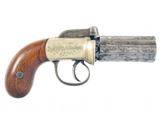 A Cased Pepperbox by Blanch of London