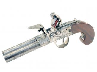 A Rare Double Barrelled Flintlock Pistol