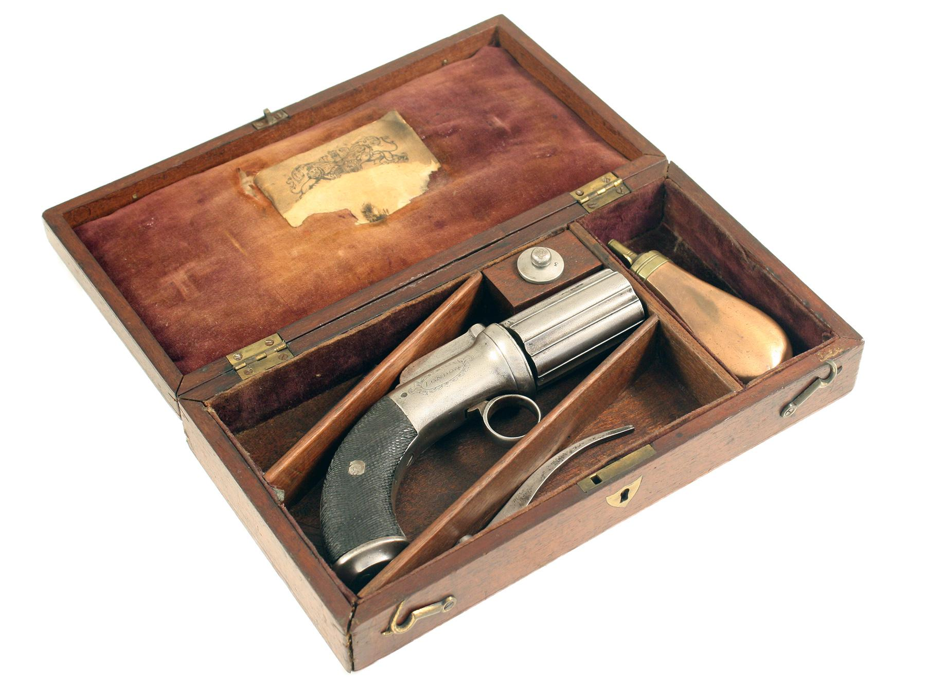 A Cased Pepperbox Revolver