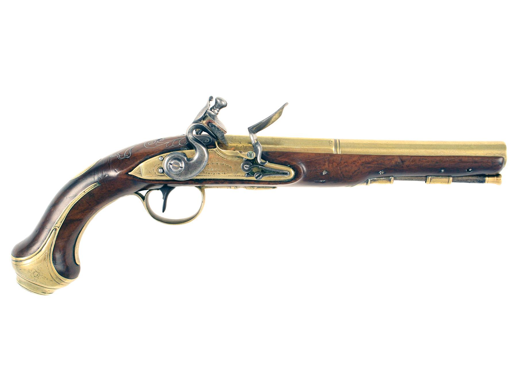A Flintlock Holster Pistol by Woolley