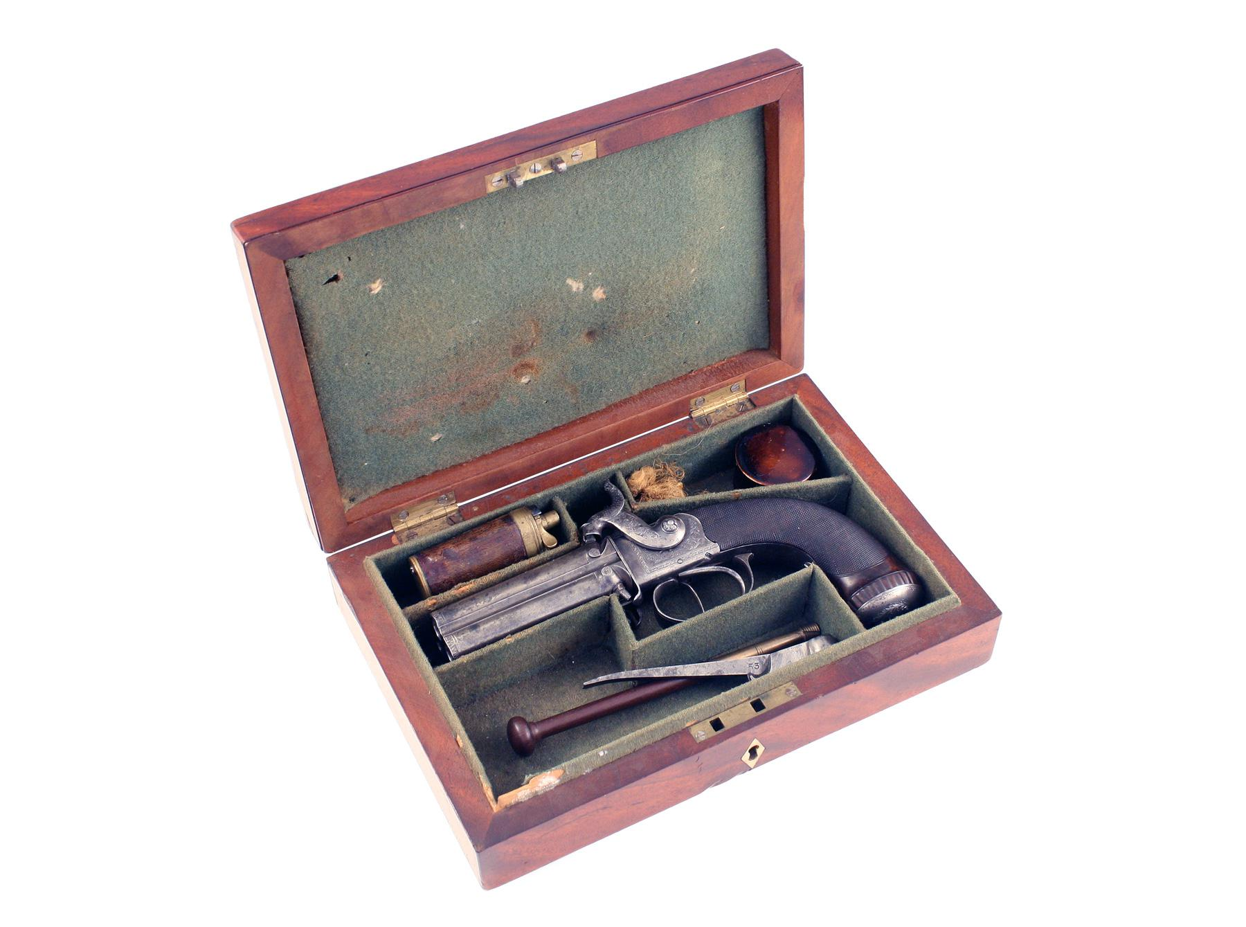 A Scarce Cased 4 Barrel Pistol