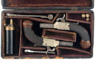 A Cased Pair of Percussion Pocket Pistols by Dooley