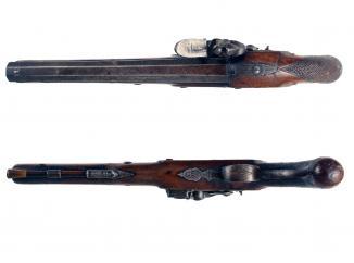 A Flintlock Duelling Pistol by Bass