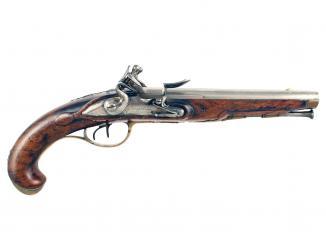 A Double Barrelled Flintlock Carriage Pistol