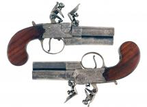 A Scarce Pair of 3-Barrelled Pistols