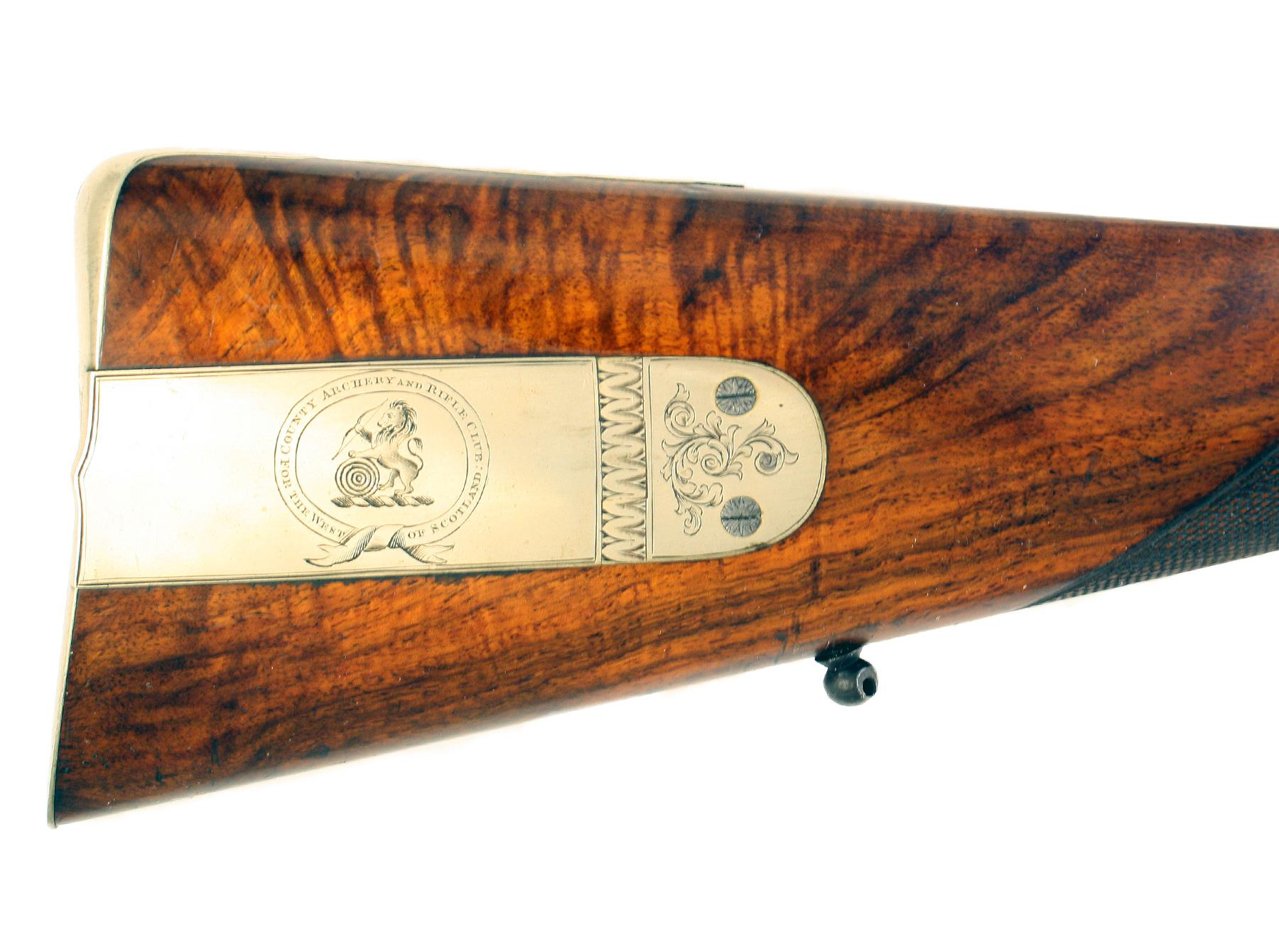 A Cased Presentation Rifle by Mortimer