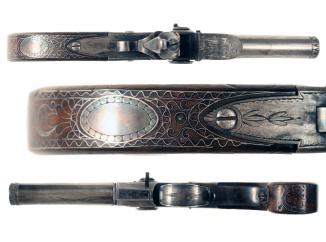 A Silver Inlaid Tap-Action Pistol by Probin