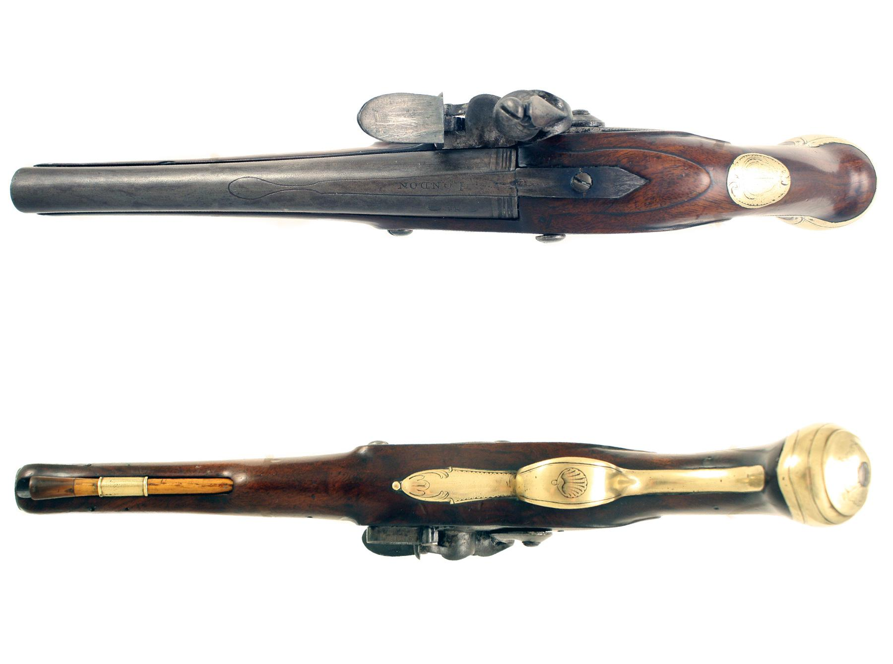 A Flintlock Holster Pistol by T. Jones of London