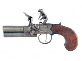 A Three-Barrelled Flintlock Pocket Pistol