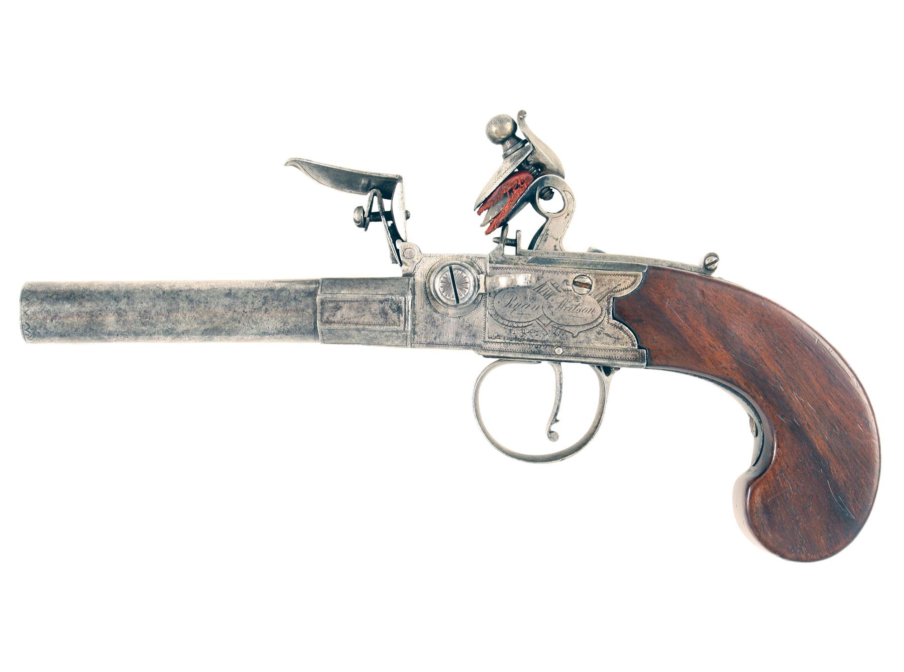 A Rare Double Barrelled Flintlock Pistol