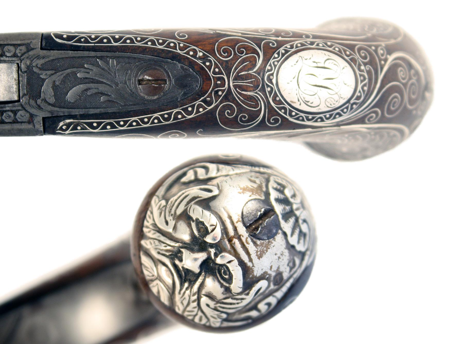 A Silver Mounted Flintlock Pocket Pistol