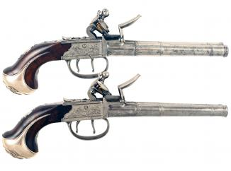 A Rare Pair of Double Barrel Pistols by J. Griffin.