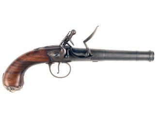 A Pair of Flintlock Queen Anne Pistols by Barbar