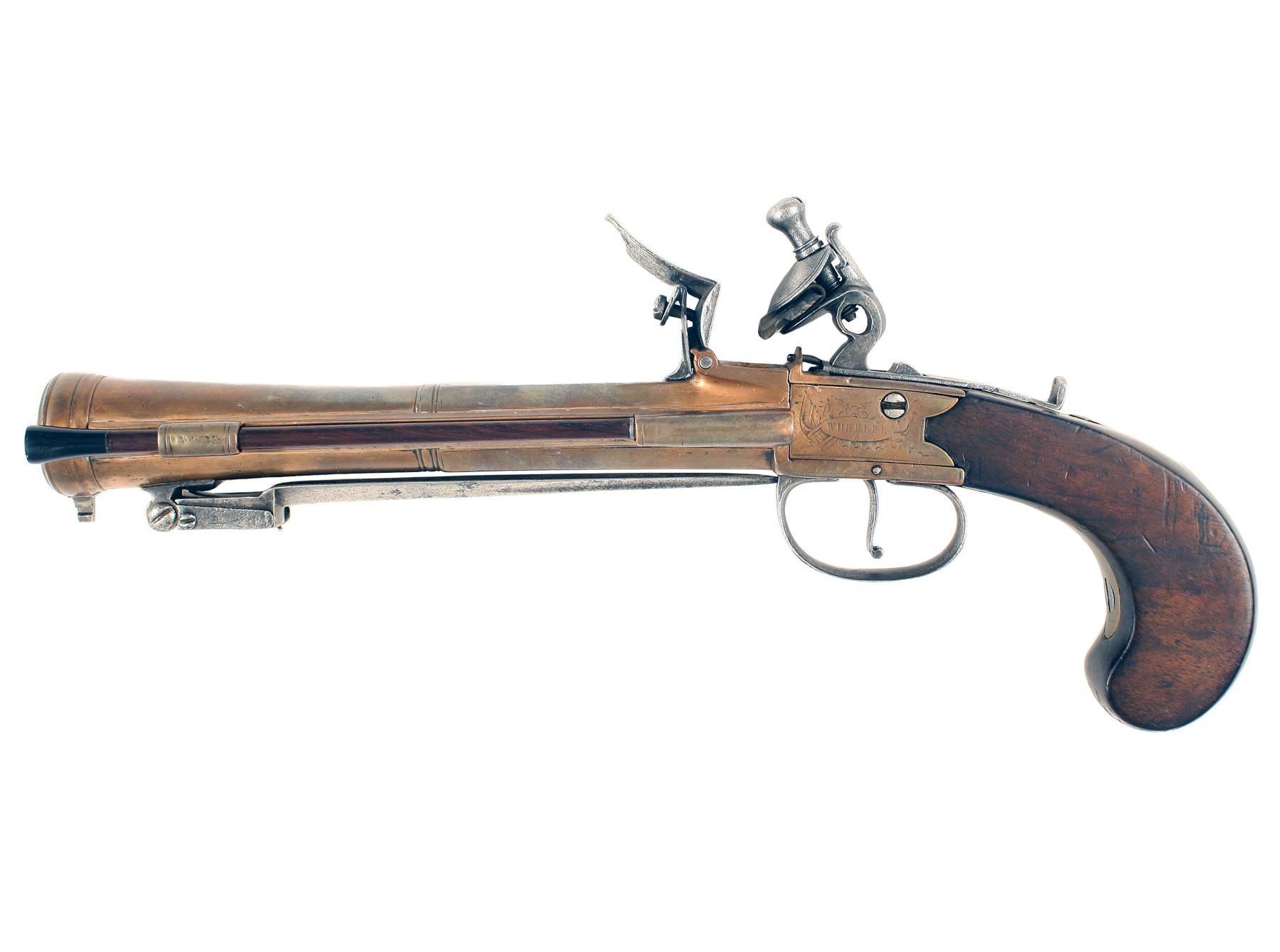 A Flintlock Blunderbuss Pistol by Wheeler