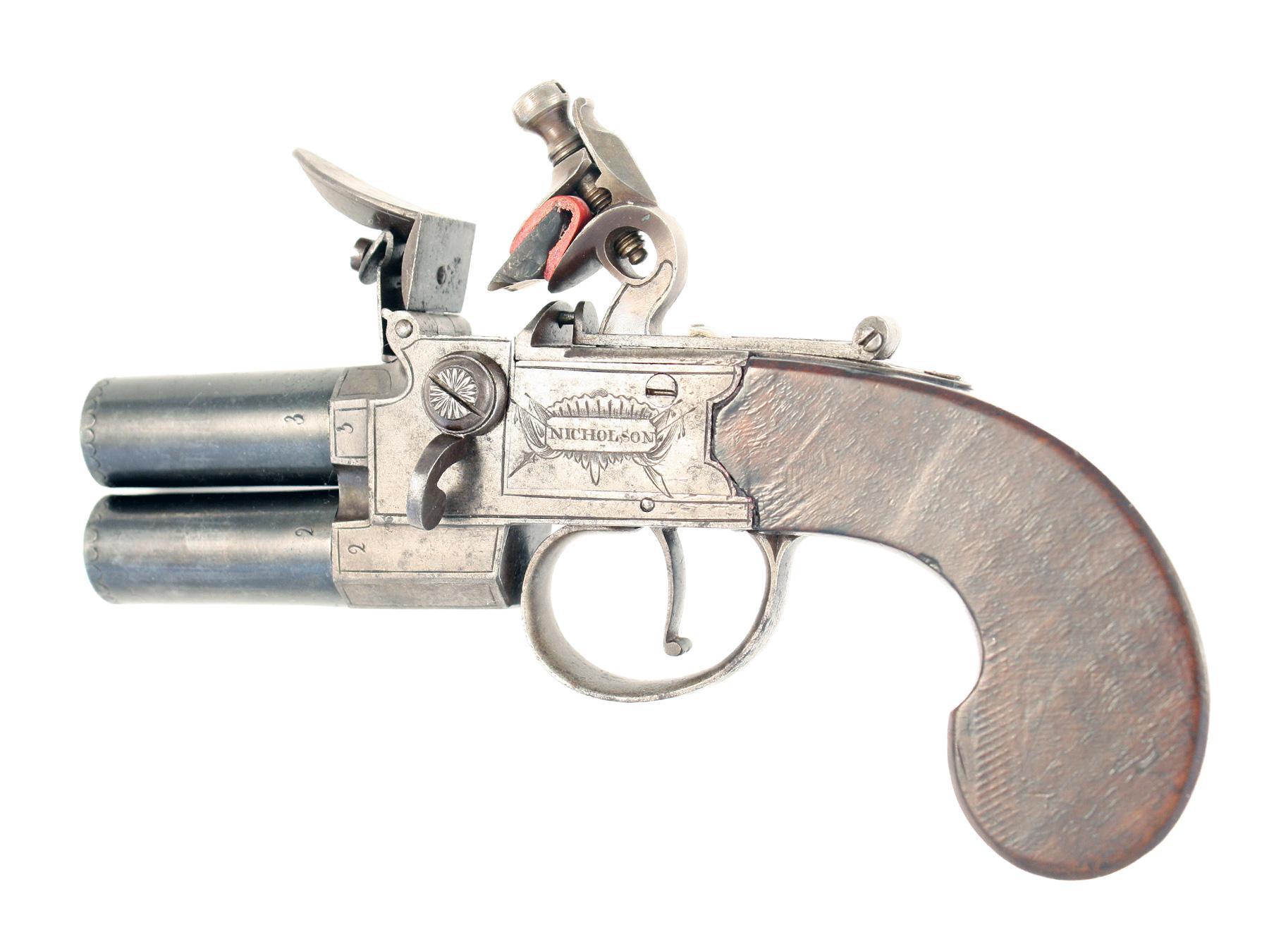 A Flintlock Tap-Action Pistol by Nicholson