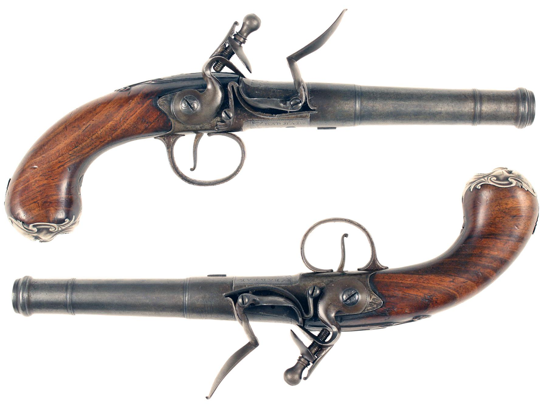 A Pair of Flintlock Queen Anne Pistols by Barbar