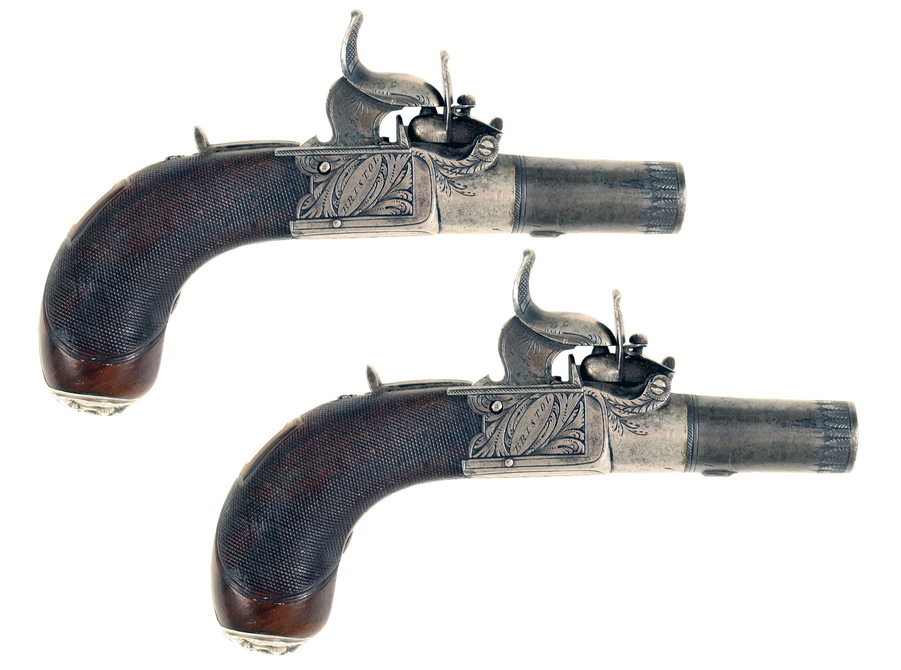 A Pair of Percussion Top-Hat Pistols