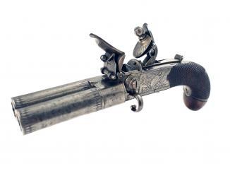 A Double Barrel Flintlock Pistol by Wilkins of Grantham