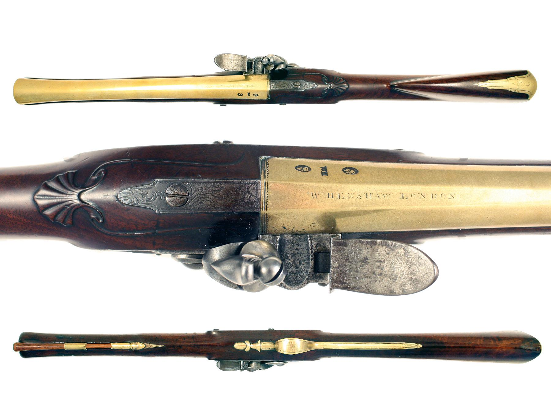 A Brass-Barrelled Flintlock Blunderbuss by Henshaw of London.