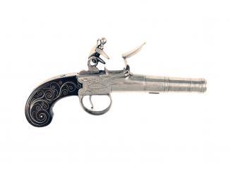 A Flintlock Pocket Pistol by Hadley